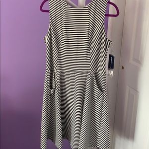 White and Black Striped Dress with Pockets
